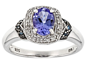 Blue tanzanite rhodium over sterling silver ring .93ctw