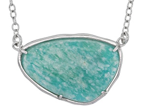 Teal green amazonite sterling silver necklace