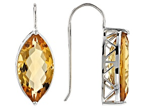 Yellow Brazilian Citrine sterling silver earrings 11.05ctw
