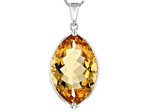 Yellow Brazilian citrine sterling silver pendant with chain 10.88ct