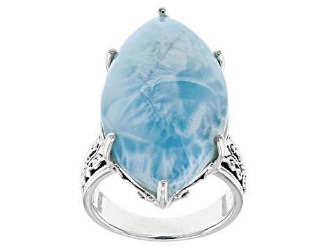 e6fa9dc20 Blue Larimar Sterling Silver Solitaire Ring - ROH205 | JTV.com