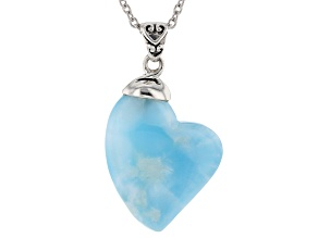 Blue larimar rhodium over silver heart pendant with chain
