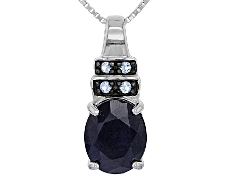 Blue sapphire sterling silver pendant with chain 3.91ctw