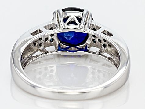 Blue lab created sapphire sterling silver ring 2.39ctw