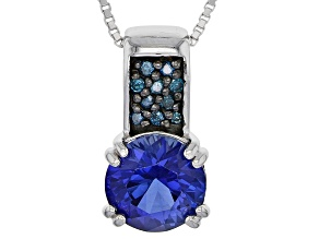 Blue lab created sapphire sterling silver pendant with chain 2.32ctw