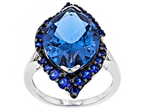 Lab Created Blue Spinel sterling silver ring 7.58ctw