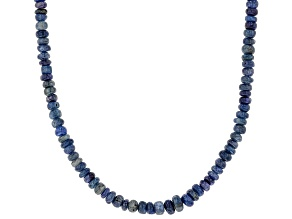 Blue sapphire bead sterling silver necklace