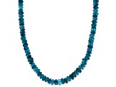 Blue neon apatite bead sterling silver necklace