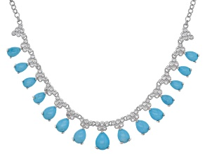 Blue sleeping beauty turquoise silver necklace .60ctw