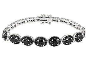 Black spinel sterling silver bracelet 6.46ctw