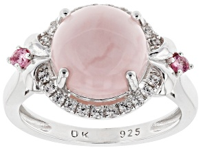 Pink Peruvian Opal Sterling Silver Ring .37ctw