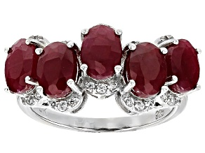 Red ruby sterling silver ring 5.34ctw