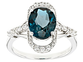 London blue topaz sterling silver ring 3.19ctw