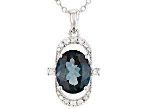 London blue topaz silver pendant with chain 3.02ctw