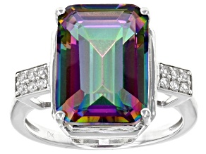 Multicolor quartz sterling silver ring 6.21ctw