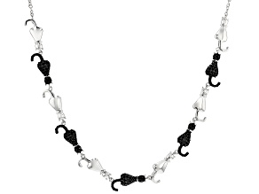 Black spinel sterling silver cat necklace 1.85ctw
