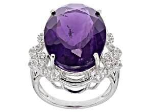 Purple Amethyst Sterling Silver Ring 14.77ctw