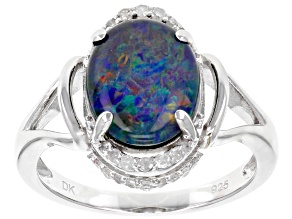 Multicolor Coober Pedy opal triplet sterling silver ring .15ctw