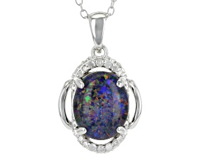 Multicolor Coober Pedy opal triplet silver pendant with chain .15ctw