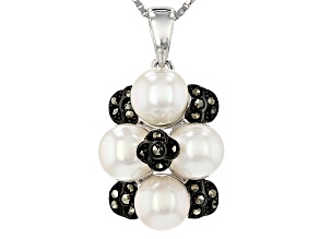 White cultured freshwater pearl silver pendant with chain