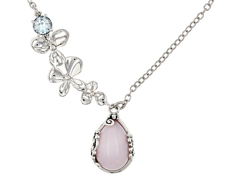 Pink Peruvian opal sterling silver necklace .94ct