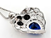 Blue lab spinel rhodium over silver owl pendant with chain 2.67ctw