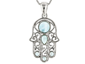 Blue larimar sterling silver hamsa pendant with chain