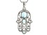 Blue larimar sterling silver hamsa pendant with chain