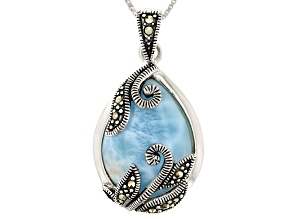 Blue larimar rhodium over sterling silver pendant with chain