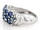 Blue Kanchanaburi sapphire sterling silver ring 2.35ctw