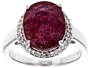 Red ruby sterling silver ring 5.19ctw