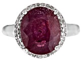 Red Mahaleo(R) ruby sterling silver ring 5.19ctw