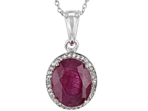 Red Mahaleo(R) ruby sterling silver pendant with chain 5.19ctw