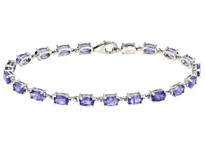 Blue tanzanite sterling silver bracelet 9.60ctw