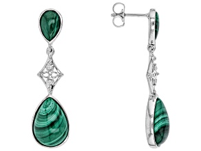 Green malachite rhodium over sterling silver earrings .05ctw
