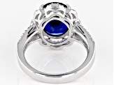 Blue lab created spinel sterling silver ring 5.50ctw
