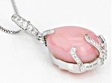 Pink Peruvian opal sterling silver enhancer with chain .46ctw