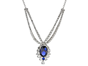 Blue lab created spinel rhodium over sterling silver necklace 14.79ctw