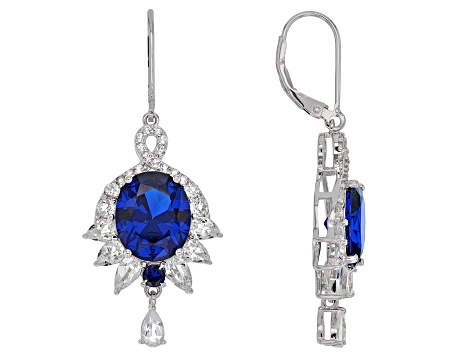 Blue lab created spinel rhodium over sterling silver earrings 11.62ctw