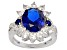Blue lab spinel rhodium over sterling silver ring 6.22ctw