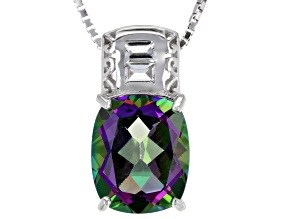Green Mystic Topaz® sterling silver pendant with chain 4.18ctw