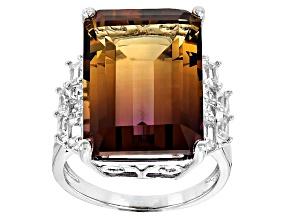 Bi-color lab created ametrine sterling silver ring 13.59ctw
