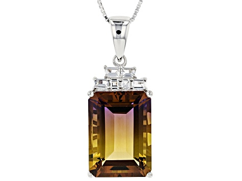 Bi-color lab created ametrine sterling silver pendant with chain 13.21ctw