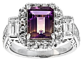 Bi-color lab created ametrine sterling silver ring 3.68ctw