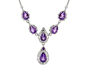 Purple amethyst sterling silver necklace 10.61ctw