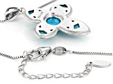 Blue turquoise rhodium over sterling silver cross pendant with chain