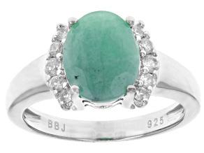 Green Brazilian emerald sterling silver ring 2.62ctw
