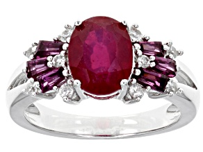 Red ruby sterling silver ring 3.27ctw