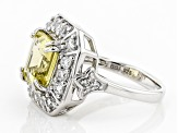 Yellow apatite sterling silver ring 4.56ctw
