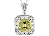 Yellow apatite sterling silver pendant with chain 5.61ctw